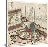 Steen - Schilderij van Katsushika Hokusai Aluminium 90x90 cm - Foto print op Aluminium (metaal wanddecoratie)