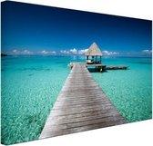 Frans-Polynesie aanlegsteiger Canvas 180x120 cm - Foto print op Canvas schilderij (Wanddecoratie woonkamer / slaapkamer) XXL / Groot formaat! / Zee en Strand
