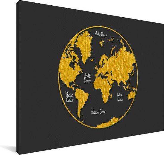 Ronde en gouden wereldkaart op een grijze achtergrond Canvas 140x90 cm - Foto print op Canvas schilderij (Wanddecoratie woonkamer / slaapkamer)