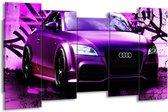 Canvas schilderij Audi   Paars, Zwart, Wit   150x80cm 5Luik