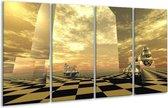 Glasschilderij Abstract | Geel, Bruin, Zwart | 160x80cm 4Luik | Foto print op Glas |  F003983