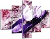 Glasschilderij Tulpen | Paars, Wit | 100x70cm 5Luik | Foto print op Glas |  F003283