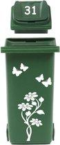 Set sticker kliko container bloem met vlinders & huisnummer   Rosami