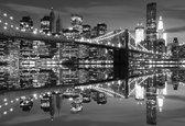 Fotobehang New York City Skyline Brooklyn Bridge | XXL - 206cm x 275cm | 130g/m2 Vlies