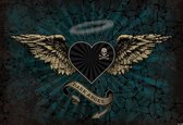 Fotobehang Alchemy Heart Dark Angel Tattoo   PANORAMIC - 250cm x 104cm   130g/m2 Vlies