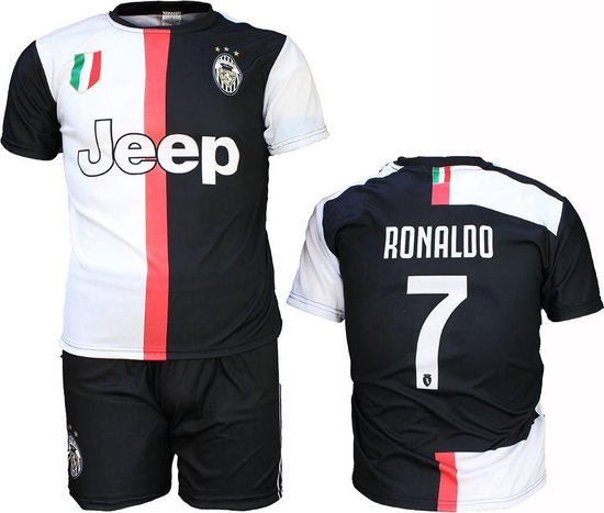 Juventus Replica Cristiano Ronaldo CR7 Thuis Tenue Voetbalshirt + Broek Set Seizoen 2019/2020 Zwart / Wit, Maat:  140