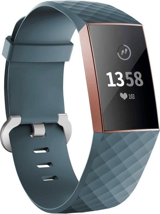 Fitbit charge 3 & 4 sport wafel band - leisteen - SM