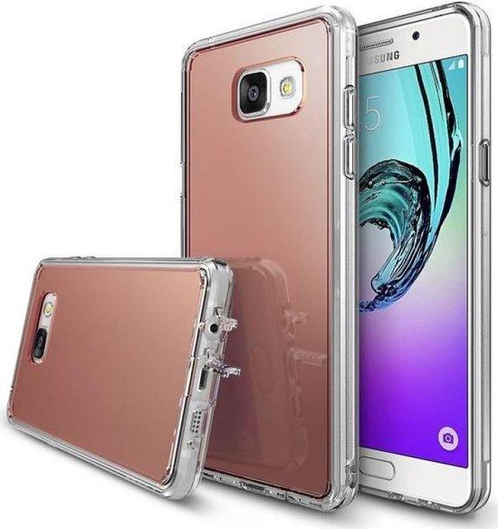 Mooi siliconen Rose Goud/Gold hoesje met spiegel, mirror achterkant voor een optimale bescherming van de Samsung Galaxy S6 Edge, selfie case