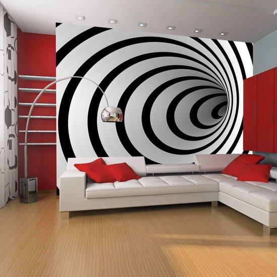 Fotobehang - Zwart-wit 3D tunnel