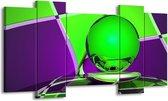 Canvas schilderij Abstract | Paars, Groen | 120x65 5Luik