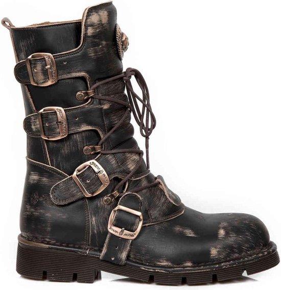 New Rock Laarzen -49 Shoes- M-1473-S48 Zwart/Bronskleurig