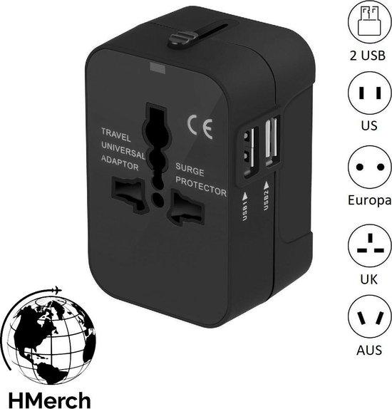 HMerch™ Wereldstekker Universeel - Spanningsomvormer - Reisstekker – Met 2 USB poorten – Geschikt voor 150 landen – Universele Wereld Stekker – Wereldwijd Reizen – US / EU / UK / AU – Engeland / Amerika / Europa / Australië – Zwart