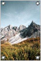 Tuinposter –Bergen met Blauwe Lucht– 100x150cm Foto op Tuinposter (wanddecoratie voor buiten en binnen)