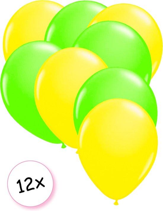 Ballonnen Neon Geel & Neon Groen 12 stuks 25 cm
