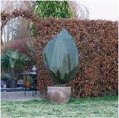 Plantenhoes tegen vorst met aantrekkoord groen H 1 meter x D 50 cm 50 g/m2 set van 3 stuks - Winterafdekhoes - Winterhoes voor planten - Anti-vorst beschermhoes planten - Vorstbescherming - Planthoes