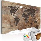 Afbeelding op kurk -Houten Mozaïek, Wereldkaart, Bruin, 1luik