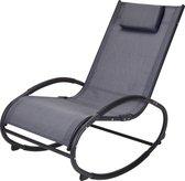 4gardenz schommelstoel met rugkussen - 85x97x53 cm - Grijs