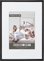 Halfronde Aluminuim Wissellijst - Fotolijst - 50x60 cm - Helder Glas - Hoogglans Zwart - 10 mm