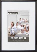 Halfronde Aluminuim Wissellijst - Fotolijst - 20x28 cm - Helder Glas - Hoogglans Zwart - 10 mm
