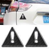 2 STKS Auto-Styling Driehoek Carbon Waarschuwing Sticker Decoratieve Sticker (Zwart)