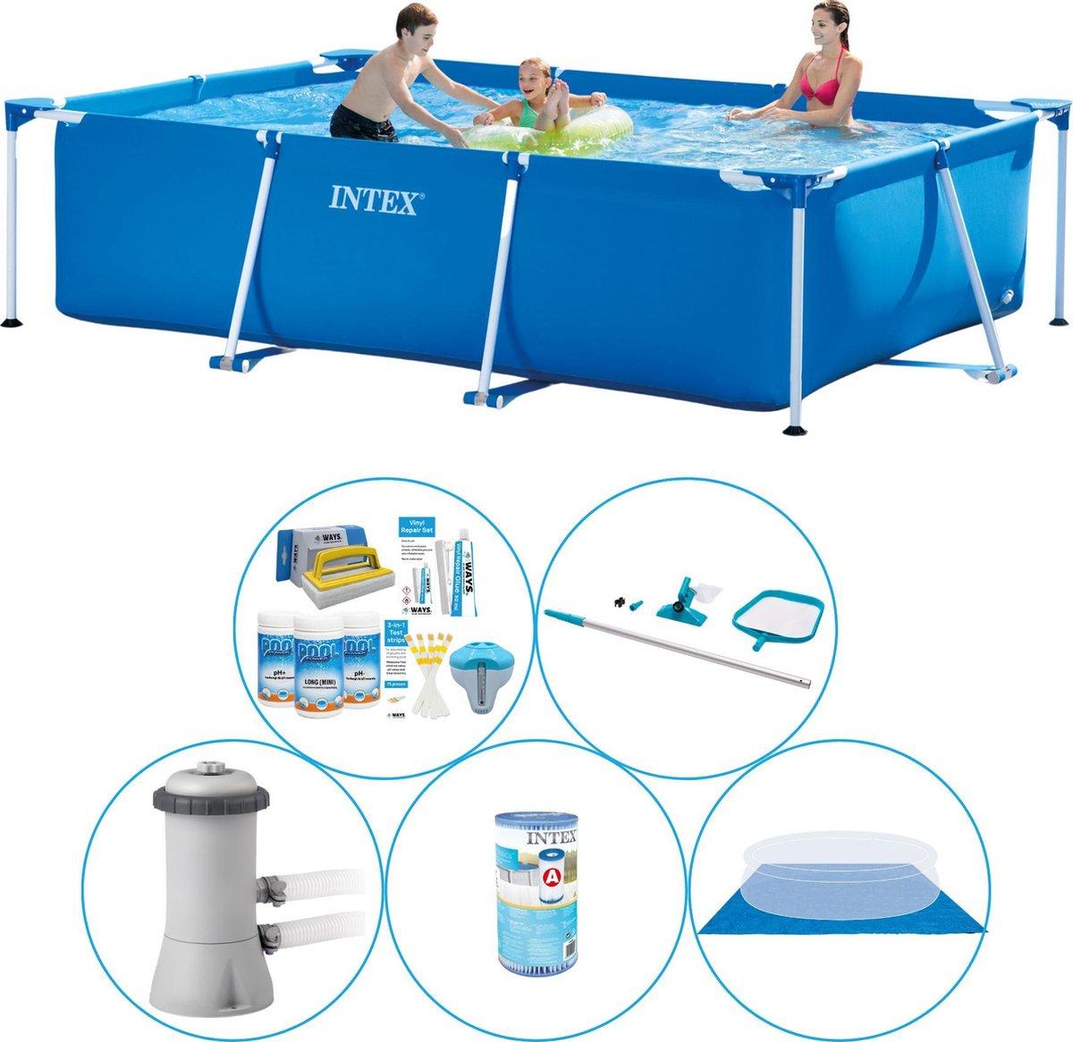 Intex Frame Pool Rechthoekig 300x200x75 cm - 6-delig - Zwembad Combi Deal