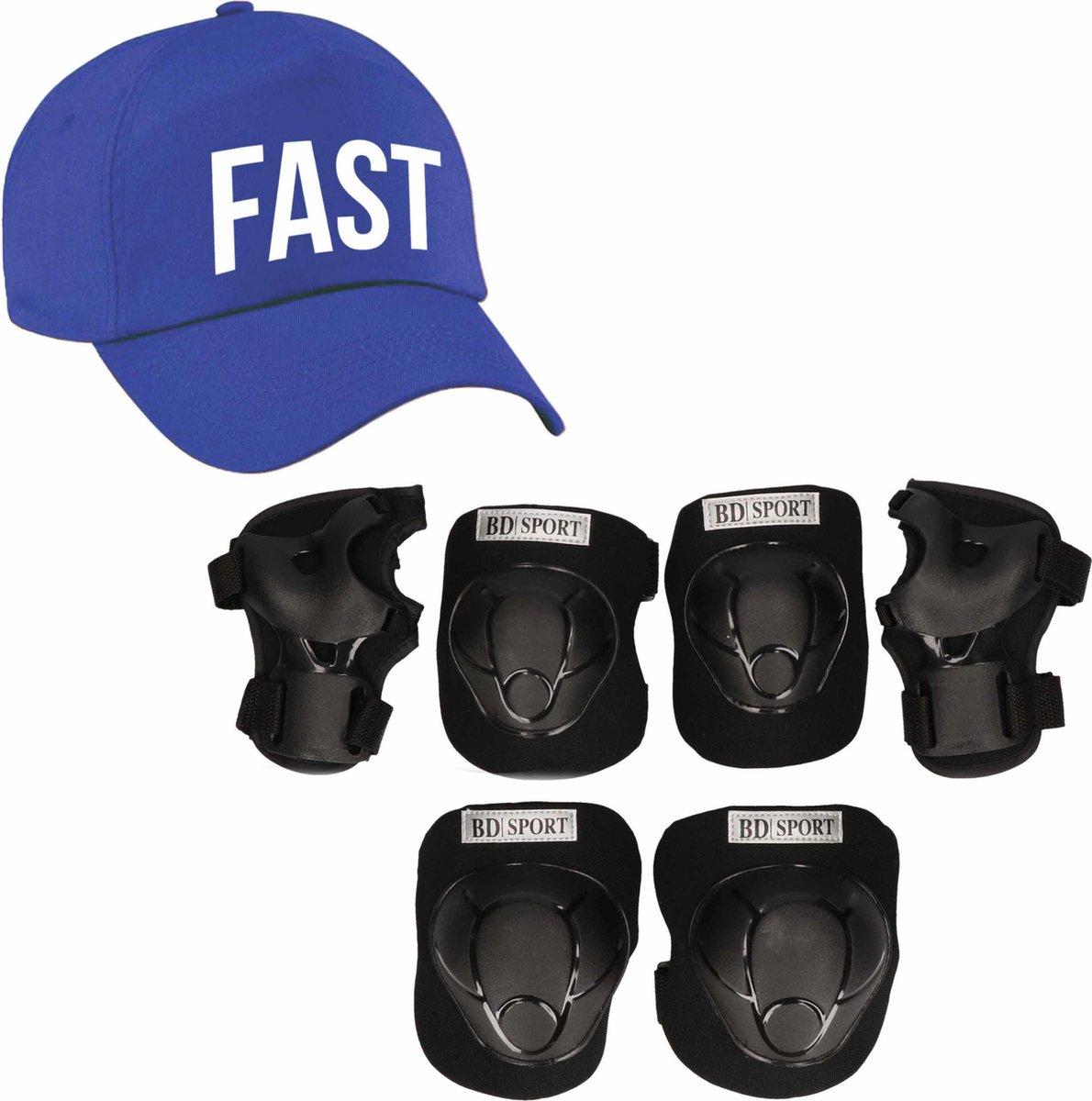 Set van valbescherming voor kinderen maat L / 9 tot 10 jaar met een stoere FAST pet blauw