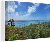 Kust met oceaanwater in het Noord-Amerikaanse Isla Mujeres Canvas 140x90 cm - Foto print op Canvas schilderij (Wanddecoratie woonkamer / slaapkamer)