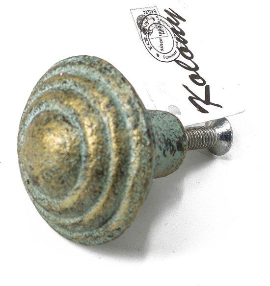 Kolony  Kast- /Deurknop, Gietijzer mint groen, steekt 3,5 cm naar voren.