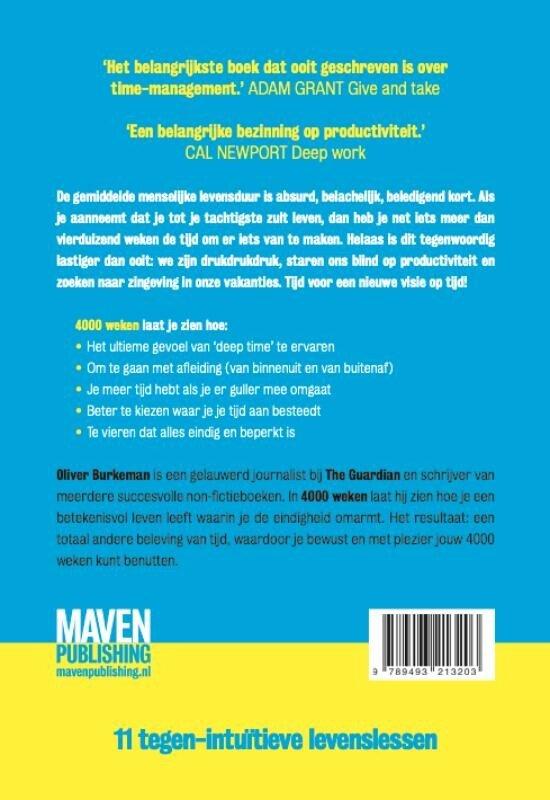 Boek cover 4000 weken van Oliver Burkeman (Paperback)