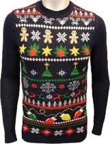 Foute Kersttrui Heren / Mannen - Christmas Sweater - Cookie Sneeuw Zwart - Noorse Kerst Trui Maat M