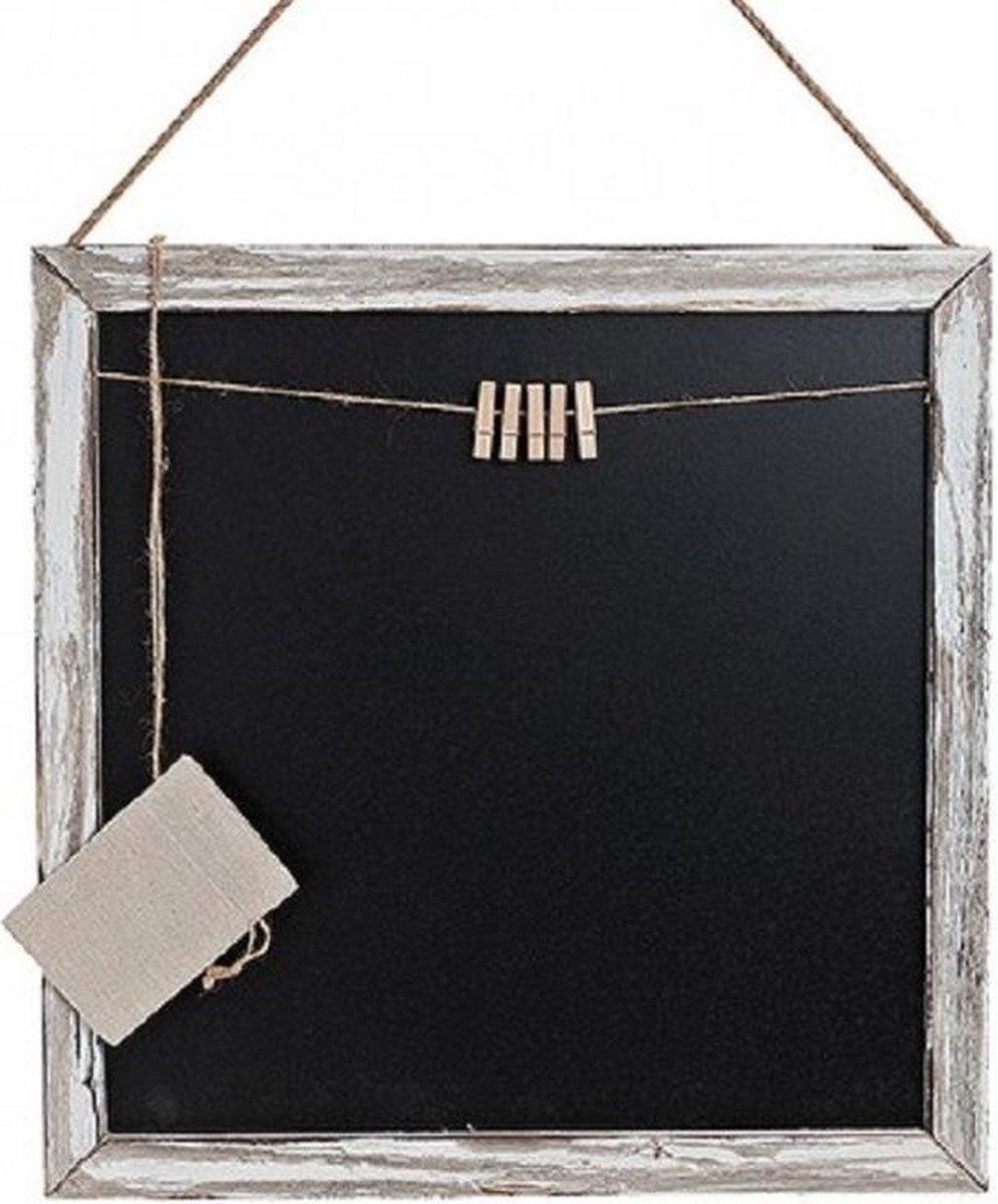 Merkloos / Sans marque Houten memo krijtbord met knijpertjes 45 x 45 cm Wanddecoratie Wandborden van hout online kopen