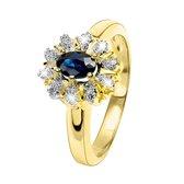 Lucardi - Lucardi Diamond - Geelgouden ring met diamant en saffier
