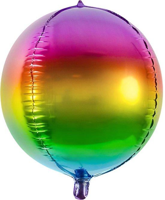 PARTYDECO - Ronde aluminium regenboog ballon - Decoratie > Ballonnen