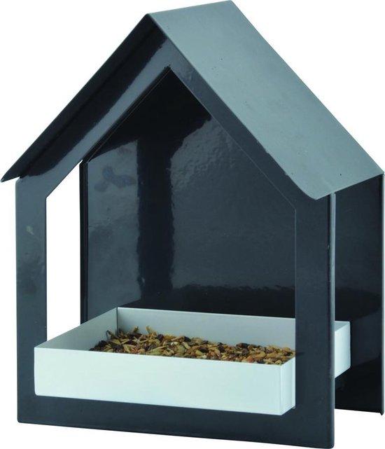 Esschert Design - Vogelvoederhuisje Muur - Zwart - 19 x 12 x 23 cm