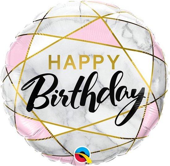 Folie ballon Happy Birthday Marmer - 46 centimeter