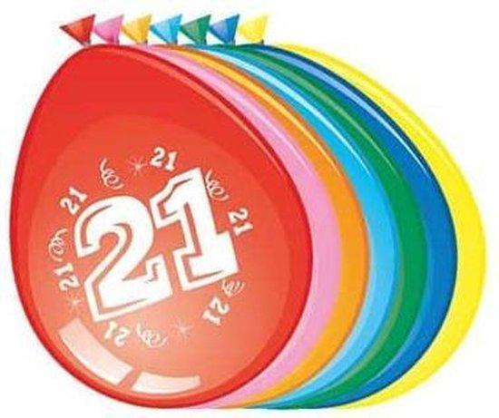 Ballonnen 21 jaar - 30cm - 8st