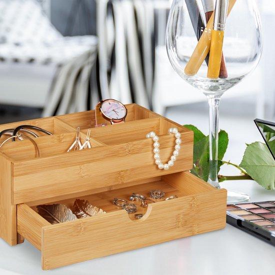 relaxdays make up organizer - bureau organizer - sieradenkist - bamboe - lade