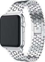 Apple watch vis stalen schakel band - zilver - 42mm en 44mm