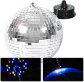 Spiegelbol met motor en LED verlichting