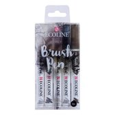 Talens Ecoline 5 brush pens ''Grey''