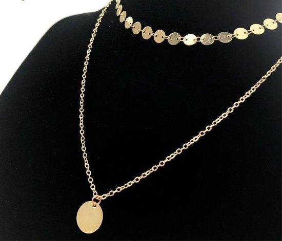 Lovelymusthaves Layered coin ketting - Dames - Goudkleurig - 32 cm - Lovelymusthaves