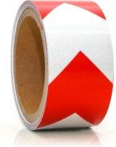 Reflecterende tape Zelfklevend 5m x 5cm Reflecterende waarschuwingsband Kleefband rood wit