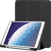Apple iPad Air 3 2019 hoes - Smart Tri-Fold Tablet Book Case Cover met Penhouder - Zwart