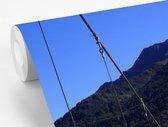 Fotobehang vinyl - Brug in het Nationaal park Mount Aspiring op South-Island breedte 175 cm x hoogte 260 cm - Foto print op behang (in 7 formaten beschikbaar)