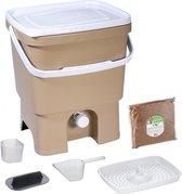 Skaza Bokashi Organko keukencompostbak van gerecycleerd plastic |16 L| Starter Setbvoor keukenafval en compostering | met EM zemelen 1 kg | Beige-Grijs