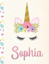 Sophia: Personalized Unicorn Primary Handwriting Notebook For Girls With Pink Name - Dotted Midline Handwriting Practice Paper