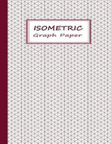 Isometric Graph Paper: Graphing Notebook Pages with Equilateral Triangles - Red on White