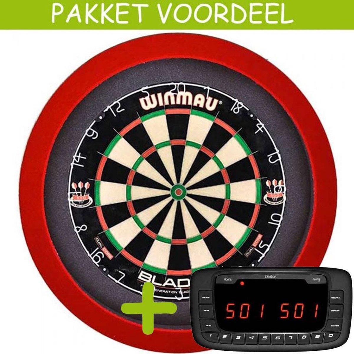 Elektronisch Dart Scorebord VoordeelPakket (Chalkie ) - Blade 5 - Dartbordverlichting Basic (Rood)