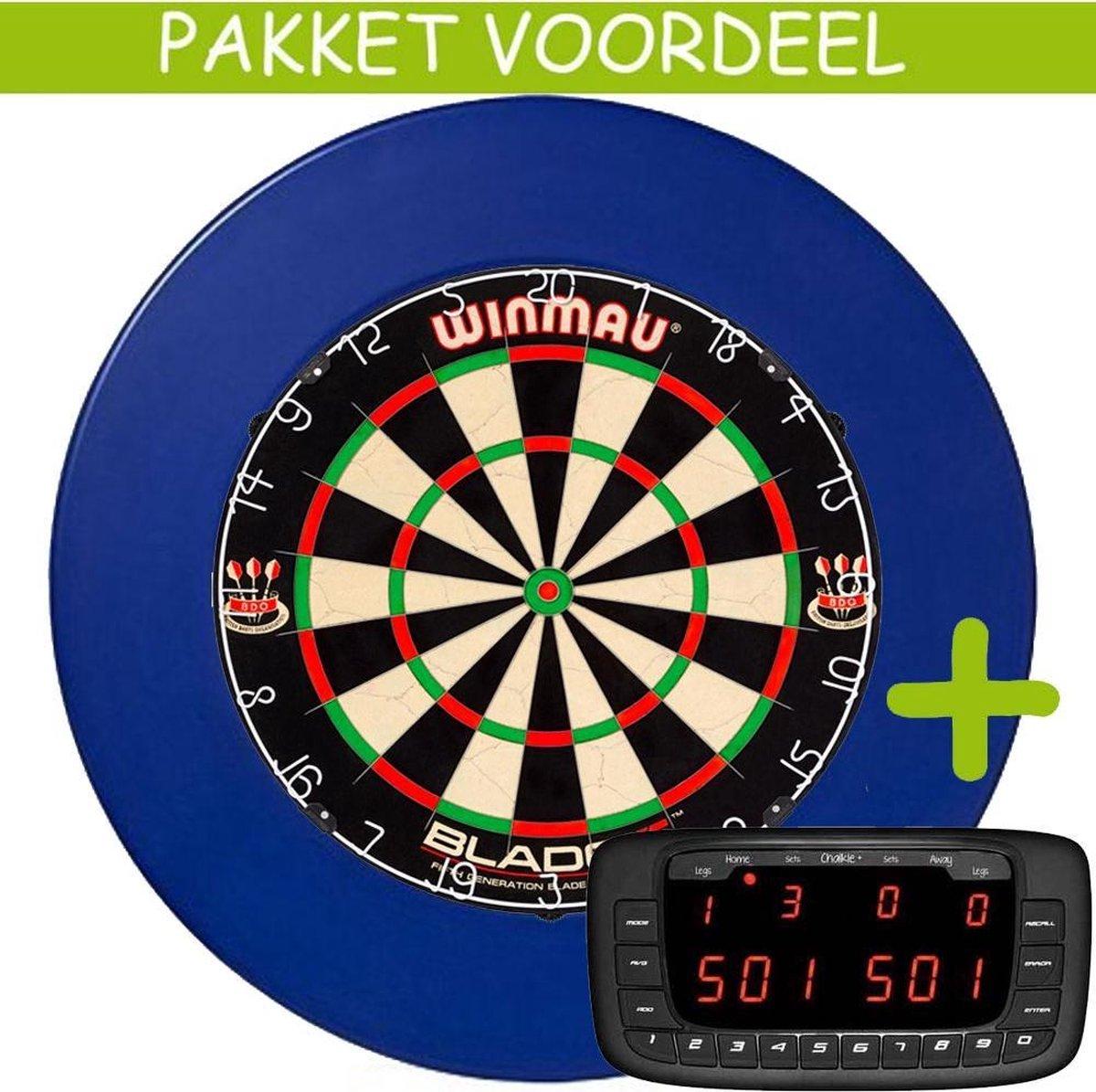 Elektronisch Dart Scorebord VoordeelPakket (Chalkie + ) - Blade 5 - Rubberen Surround (Blauw)