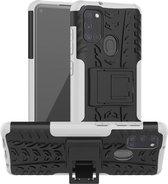 Samsung Galaxy A21S Hybride Kickstand Hoesje Wit